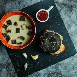 burger combo – roasted garlic cream soup